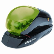5020e Three-Way Flat Clinch Electric Stapler, 20 Sheet Cap, Black/Green