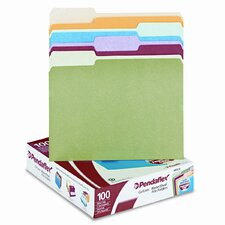Cutless/Watershed File Folders, 1/3 Cut Top Tab, Letter, 100/Box