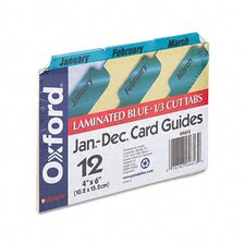 Oxford Laminated Index Card Guides, Monthly, 1/3 Tab, 4 X 6 (Set of 12)