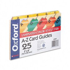 Oxford Laminated Index Card Guides, Alpha, 1/5 Tab, 5 X 8 (Set of 25)