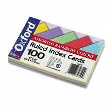 Ruled Index Cards, 4 x 6, Blue/Violet/Canary/Green/Cherry, 100 per Pack