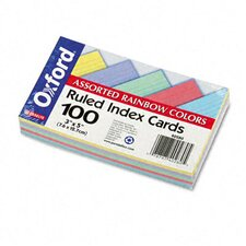 Ruled Index Cards, 3 x 5, Blue/Violet/Canary/Green/Cherry, 100 per Pack