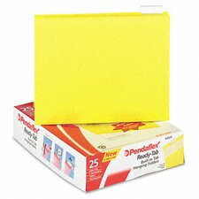 Ready-Tab Reinforced Hanging File Folders, 1/5 Tab, Letter, 25/Box