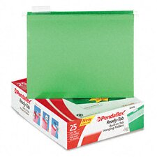 Ready-Tab Lift Tab Reinforced Hanging Folders, 1/5 Tab, Letter, 25/Box