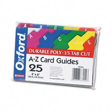 Oxford Card Guides, Alpha, 1/5 Tab, Polypropylene, 4 X 6 (Set of 25)