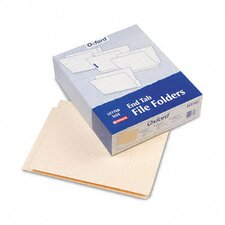 "Straight Cut End Tab Folders, One Ply, 9 1/2"" Front, Letter, 100/Box"