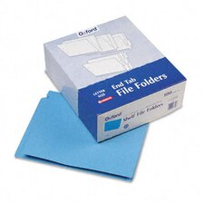 Reinforced Two-Ply Folders, Straight Cut, End Tab, Letter, Blue, 100/Box