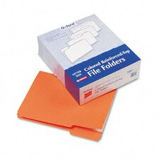 Two-Ply Reinforced File Folders, 1/3 Cut Top Tab, Letter, 100/Box