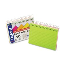 "Spiral Bound Index Cards,Ruled,Perforated,3""x5"",Neon"