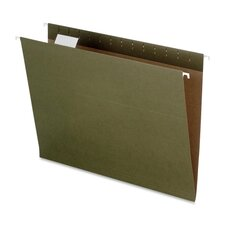 Recycled Hanging File Folders, Kraft, Letter, Green, 25 per Box