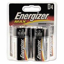 Max Alkaline Batteries, D, 4 Batteries/Pack