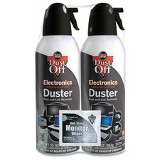 Disposable Compressed Gas Duster, Two 10oz Cans per Pack
