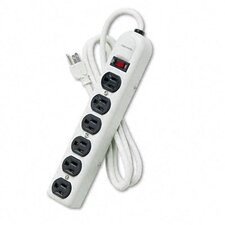Six-Outlet Power Strip, 120V, 6Ft Cord