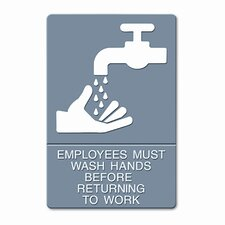 Headline Sign Ada Sign, Employees Must Wash Hands... Tactile Symbol/Braille