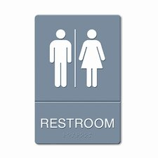 <strong>GBC®</strong> ADA Restroom Sign, Large Restroom Symbol Tactile Graphic, Molded Plastic, 6 x 9
