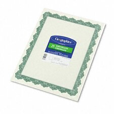 Parchment Paper Certificates, Optima Green Border, 25/Pack