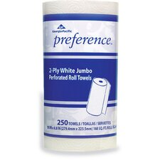 Preference Jumbo Perforated Household 2-Ply Paper Towels - 250 Sheets per Roll