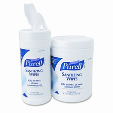 Purell Premoistened Sanitizing Wipes, Cloth, 6 x 8, 175/canister, 6/carton