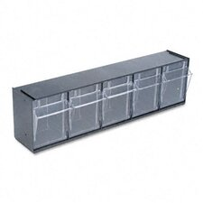 Tilt Bin Plastic Storage System with 5 Bins