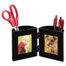 Pencil Cup with Photo Frames, 4 dia. x 4, Black