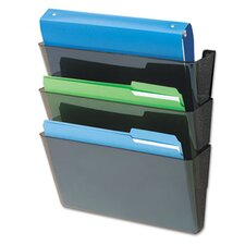 "DocuPocket Three-Pocket Partition Set, Plastic, Letter, 13""w x 4""d x 7""h, Black"
