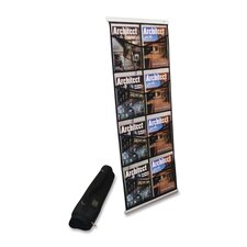 "Magazine Floor Stand,Portable,8 Pockets,20""x14-1/2""x54"",BK"