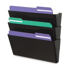 "<strong>Deflect-O Corporation</strong> Wall Files, 3-Pocket, Letterr, 13""x4""x19"", Black"