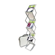 "Collapsible Floor Stand, 6 Pockets, 10-7/8""x14-1/2""x59"", Silver"