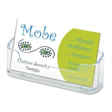 "Horizontal Business Card Holder, 3 3/4""w x 1 7/8""h x 1 1/2""d, Clear"