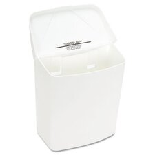 Health Gards Convertible Receptacle, Hinged Lid, 1 gal, Plastic, White (Set of 2)