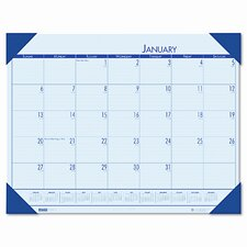 EcoTones Ocean Blue Monthly Desk Pad Calendar, 22 x 17, 2013