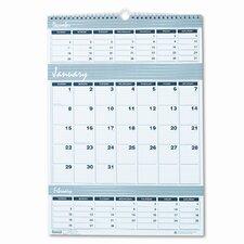Bar Harbor Wirebound Three-Months-per-Page Wall Calendar, 12 x 17, 2013