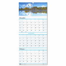 Earthscapes Scenic Landscapes Three-Months-per-Page Wall Calendar, 12-1/4 x 27, 2013