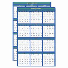 2011 Four Seasons Reversible Business/Academic Year Paper Wall Calendar, 24 x 37, 2013