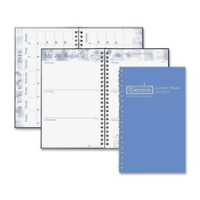"Wirebound Leatherette Weekly Planner, 13 Mos, 5""x8"", Blue, 2013"