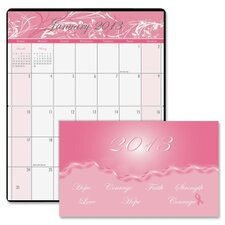 Breast Cancer Awareness 14-Month Pocket Secretary, 3-3/4 x 6-1/4, Pink, 2012
