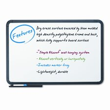 "Ingenuity Black Resin Frame 3' 6"" x 5' 6"" Whiteboard"