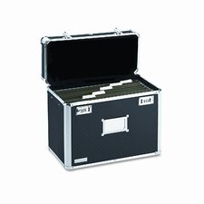 Vaultz Locking File Tote, Legal, Aluminum/Chrome, 16-3/4 x 7-1/4 x 12-1/4, Black
