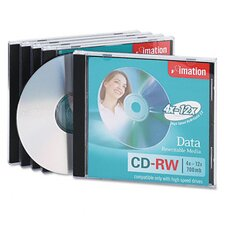 CD-RW Discs with Jewel Cases, 5/Pack