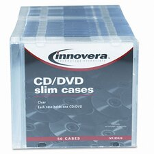 <strong>Innovera®</strong> CD/DVD Polystyrene Thin Line Storage Case, 50/Pack