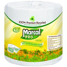 100% Premium Recycled Bath Tissues, 504 / Roll in White