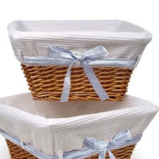 Natural Square Nursery Basket with White Waffle Liner