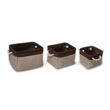 3 Piece Nesting Square Basket Set with Liners