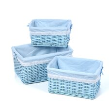 Three Wicker Baskets with Liners