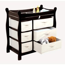<strong>Badger Basket</strong> Sleigh Style Baby Changing Table with 6 Baskets