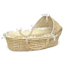 <strong>Badger Basket</strong> Hooded Moses Basket with Gingham Bedding
