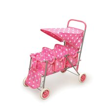 <strong>Badger Basket</strong> Triple Doll Stroller in Pink with White Polka Dots