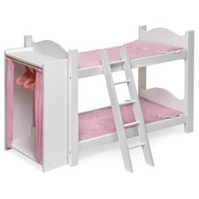 "Bunk Beds with Ladder and Storage Armoire for 20"" Dolls"