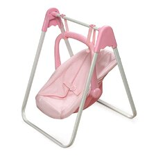 Doll Swing and Carrier in Pink Gingham
