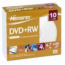 DVD + RW Discs, 10/Pack